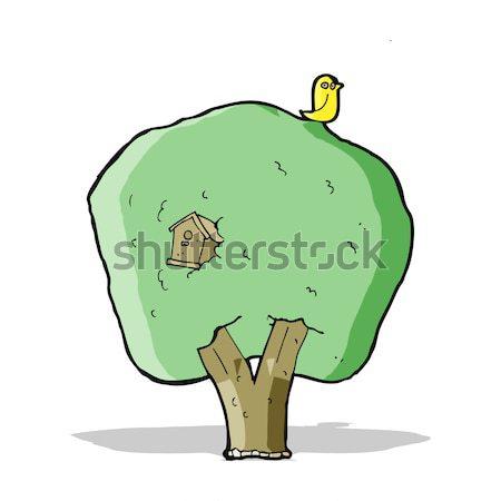 comic cartoon tree with birdhouse Stock photo © lineartestpilot