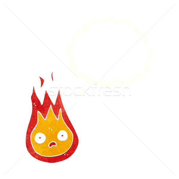 Cartoon vriendelijk vuurbol gedachte bel hand ontwerp Stockfoto © lineartestpilot