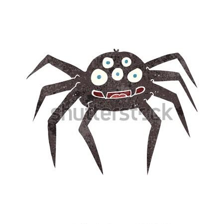 Cartoon halloween araignée bulle de pensée main design Photo stock © lineartestpilot