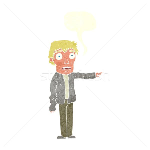 Cartoon przerażony człowiek wskazując dymka strony Zdjęcia stock © lineartestpilot