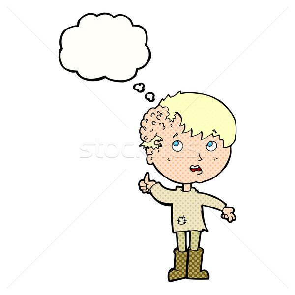 Cartoon garçon croissance tête bulle de pensée main Photo stock © lineartestpilot