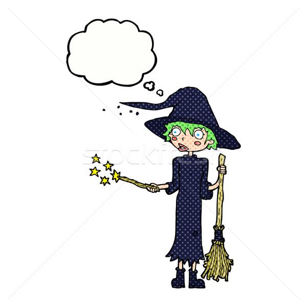 Rajz boszorkány varázsige gondolatbuborék kéz terv Stock fotó © lineartestpilot