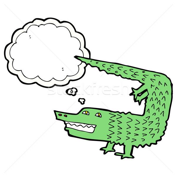 Rajz krokodil gondolatbuborék kéz terv művészet Stock fotó © lineartestpilot