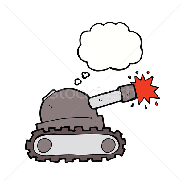 Cartoon tank gedachte bel hand ontwerp kunst Stockfoto © lineartestpilot