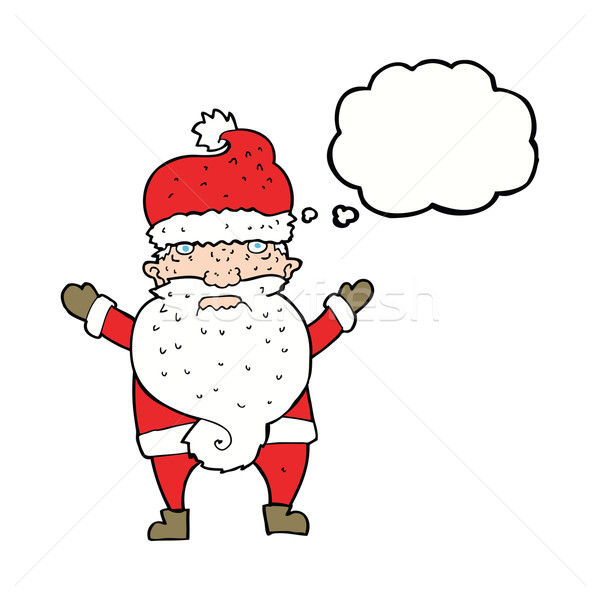 cartoon grumpy santa with thought bubble Stock photo © lineartestpilot