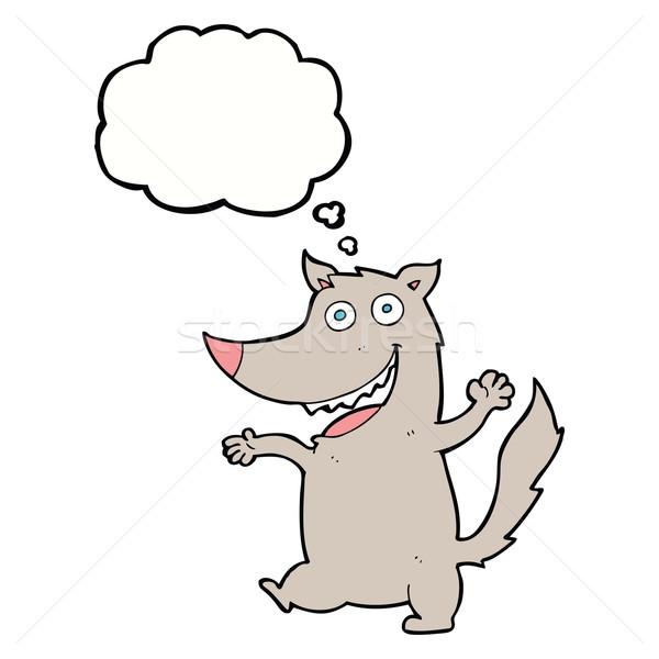 Desen animat fericit lup bule gandire mână proiect Imagine de stoc © lineartestpilot