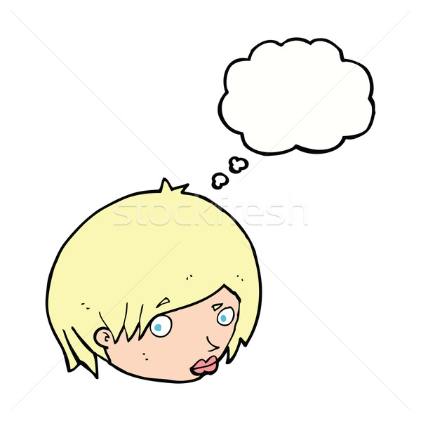cartoon female face with raised eyebrow with thought bubble Stock photo © lineartestpilot