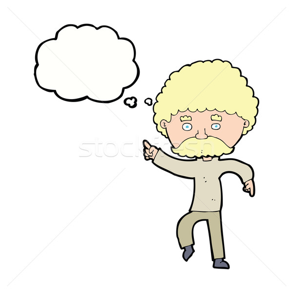 cartoon seventies style man disco dancing with thought bubble Stock photo © lineartestpilot