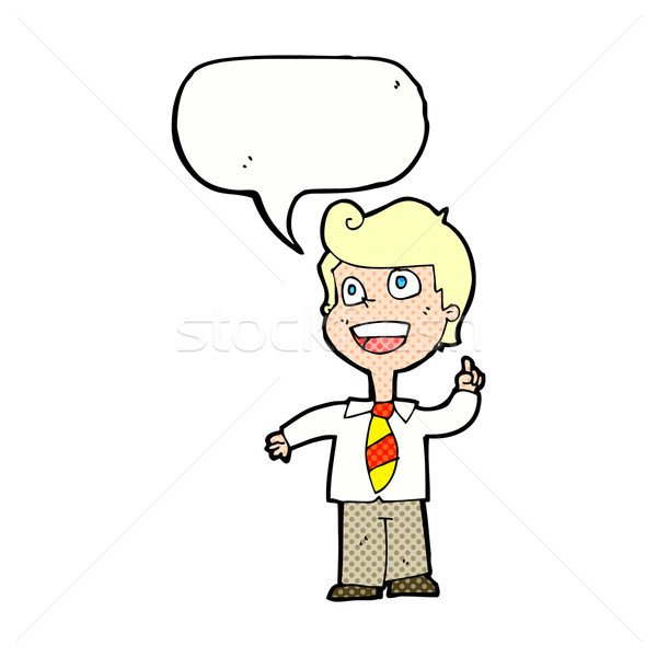 cartoon school boy raising hand with speech bubble Stock photo © lineartestpilot