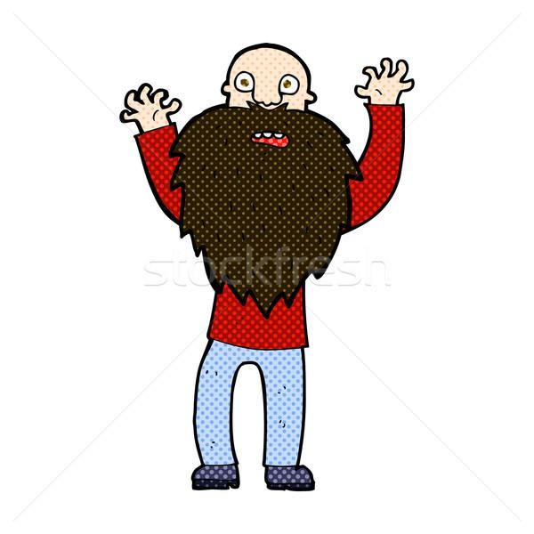 Komische cartoon bange oude man baard retro Stockfoto © lineartestpilot