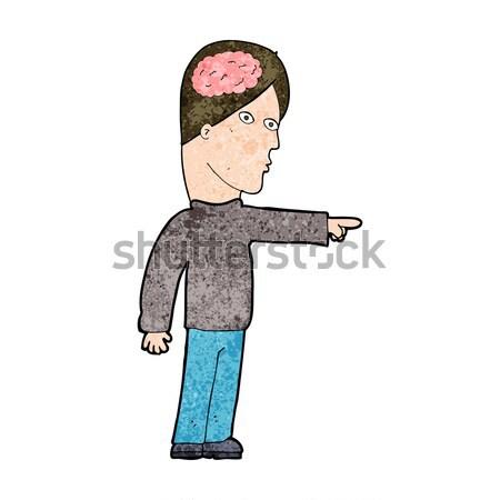 Komik karikatür zeki adam işaret Retro Stok fotoğraf © lineartestpilot