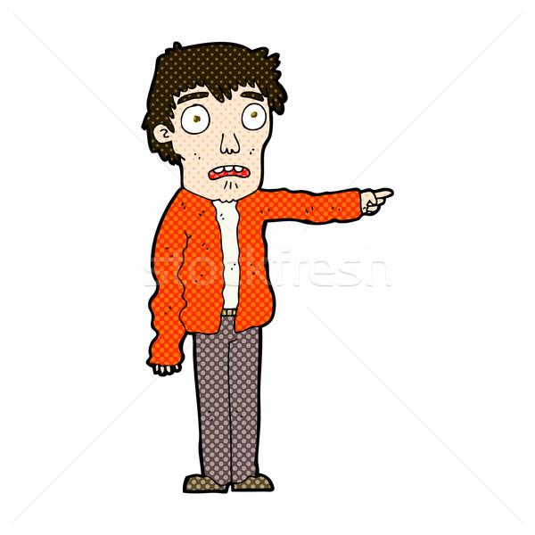 Komiks cartoon przerażony człowiek wskazując retro Zdjęcia stock © lineartestpilot