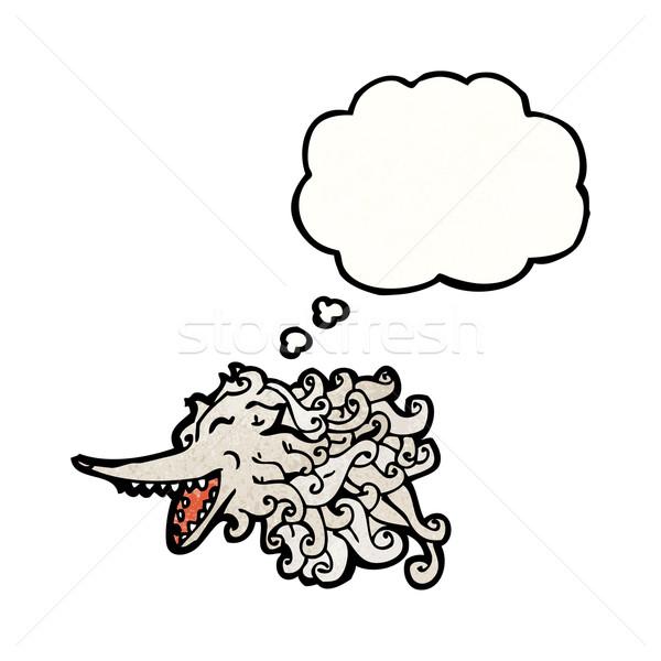 Cartoon pływające wilk duch mówić retro Zdjęcia stock © lineartestpilot