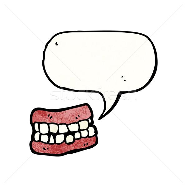 Desenho animado falso dentes falante retro desenho Foto stock © lineartestpilot