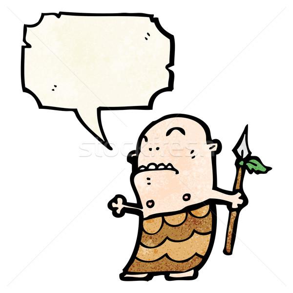 Cartoon tribali uomo parlando retro disegno Foto d'archivio © lineartestpilot