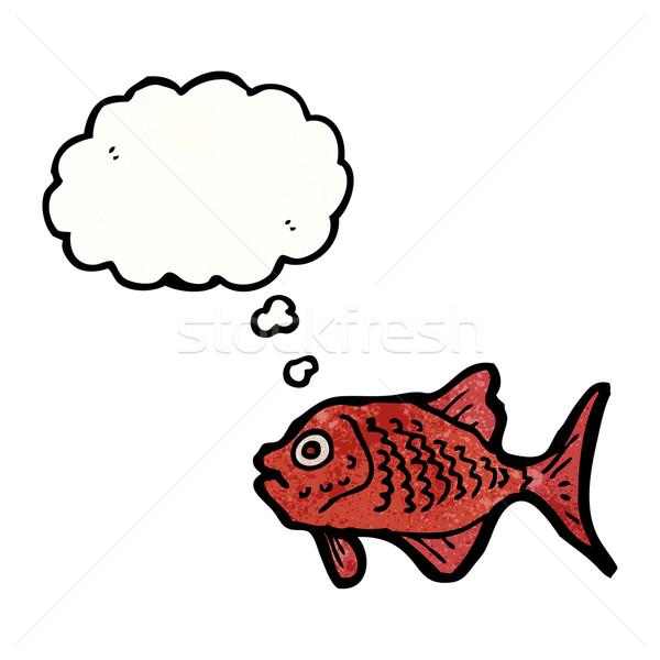 Cartoon красный рыбы говорить ретро мышления Сток-фото © lineartestpilot