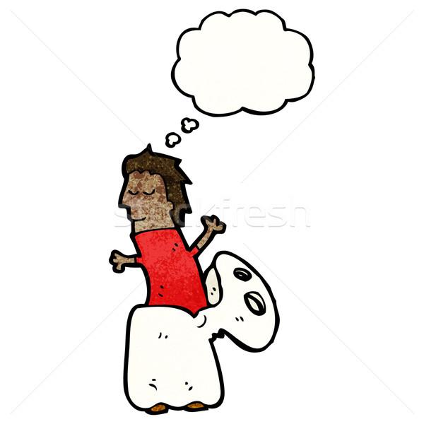 Cartoon fantasma traje retro pensando dibujo Foto stock © lineartestpilot