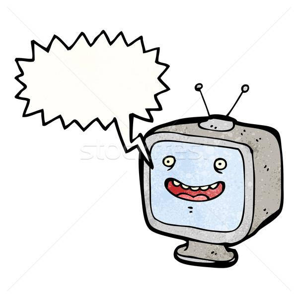grinning television set cartoon Stock photo © lineartestpilot