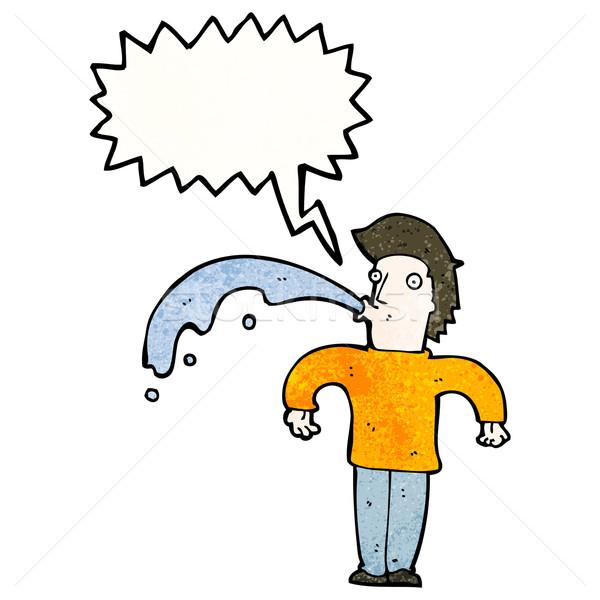 Cartoon man water uit verrassing retro Stockfoto © lineartestpilot