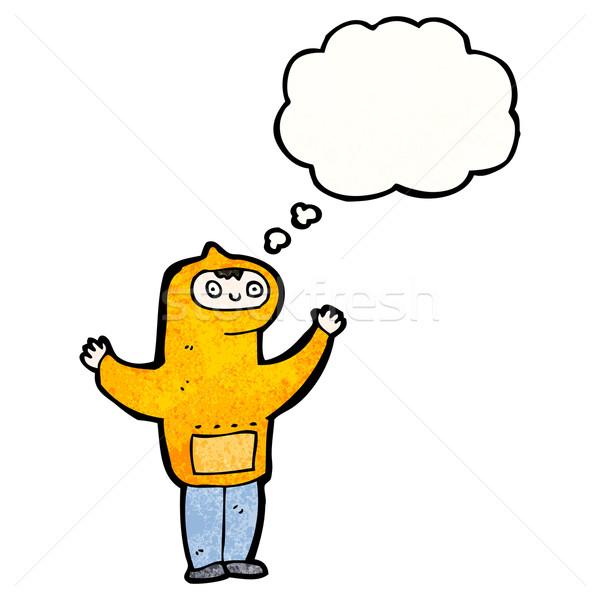 Karikatur Junge Sweatshirt Gedankenblase Retro Stock foto © lineartestpilot