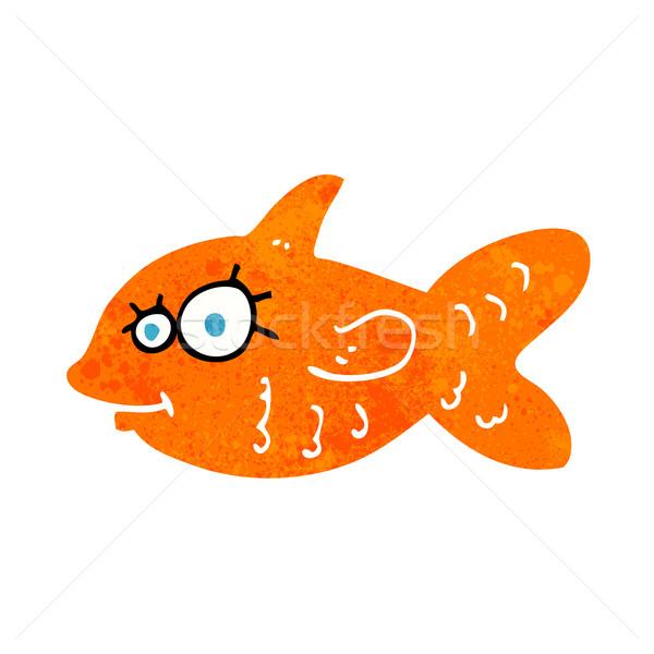 Karikatur glücklich Goldfisch Hand Gesicht Fisch Stock foto © lineartestpilot