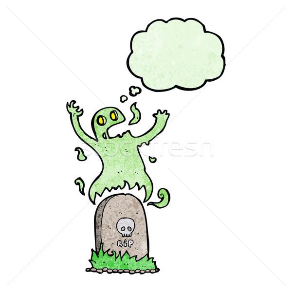 Cartoon fantasma graves burbuja de pensamiento mano Foto stock © lineartestpilot