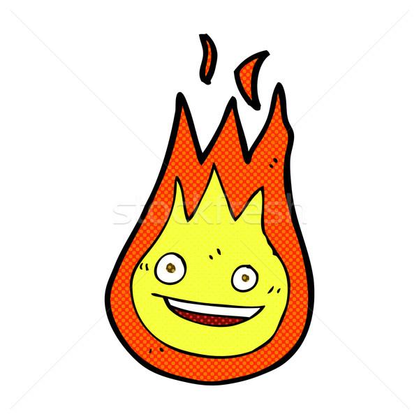 Cômico desenho animado amigável fireball retro Foto stock © lineartestpilot
