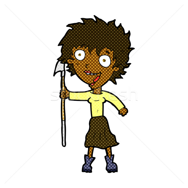 comic cartoon crazy woman with spear Stock photo © lineartestpilot