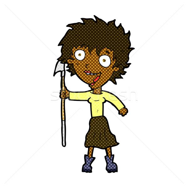 Dessinées cartoon fou femme lance rétro Photo stock © lineartestpilot
