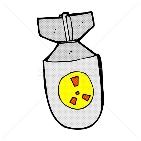 Komische cartoon atoom bom retro Stockfoto © lineartestpilot