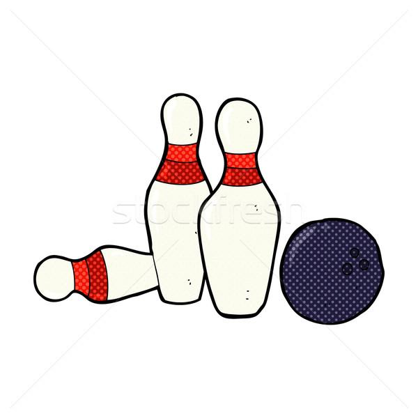 Komik karikatür bowling topu Retro stil Stok fotoğraf © lineartestpilot