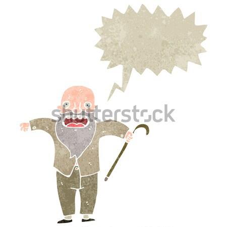 Rajz hangsúlyos idős férfi gondolatbuborék kéz férfi Stock fotó © lineartestpilot