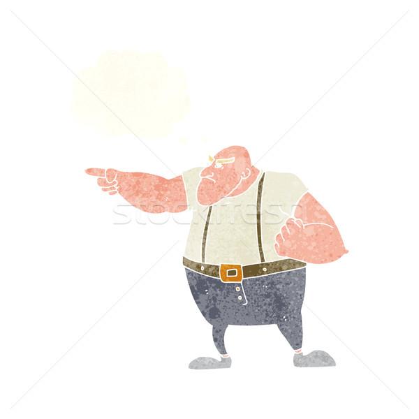 Cartoon zły twardy facet wskazując bubble myśl Zdjęcia stock © lineartestpilot
