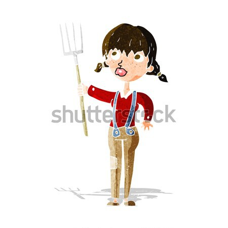 cartoon farmer with pitchfork with thought bubble Stock photo © lineartestpilot
