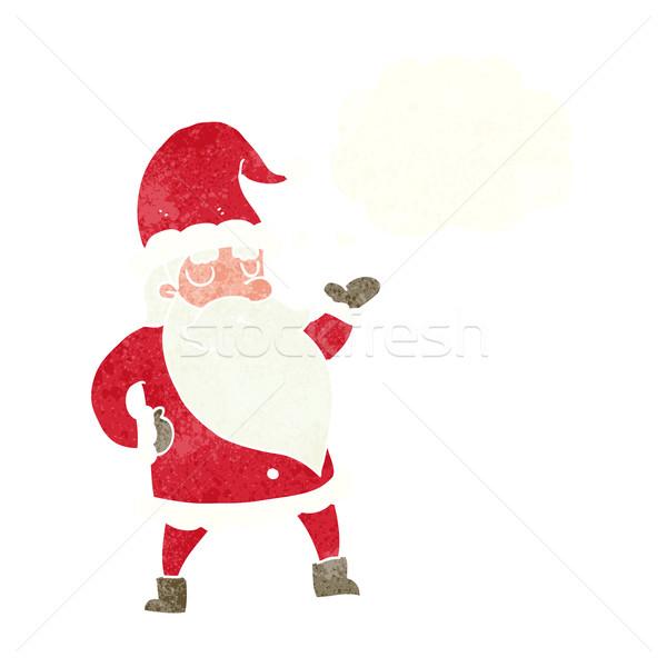 Cartoon Дед Мороз мысли пузырь стороны отец Crazy Сток-фото © lineartestpilot