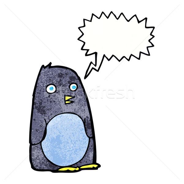 cartoon penguin with speech bubble Stock photo © lineartestpilot