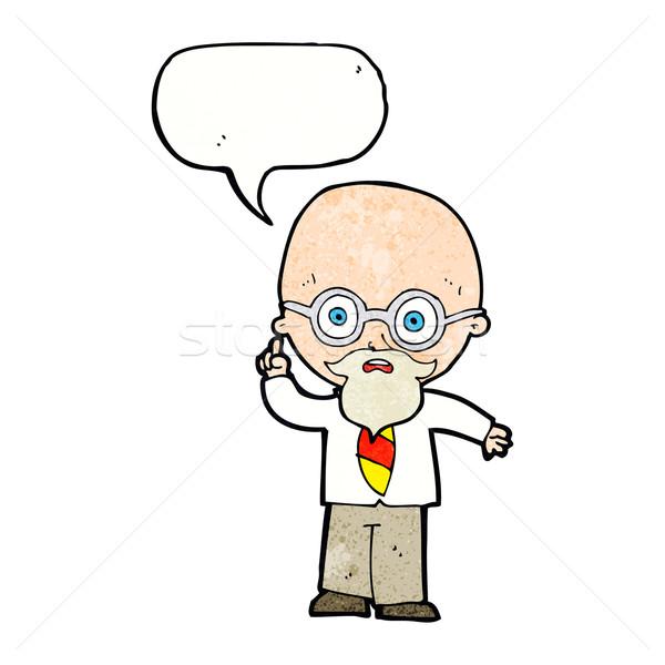Karikatür profesör konuşma balonu el dizayn sanat Stok fotoğraf © lineartestpilot