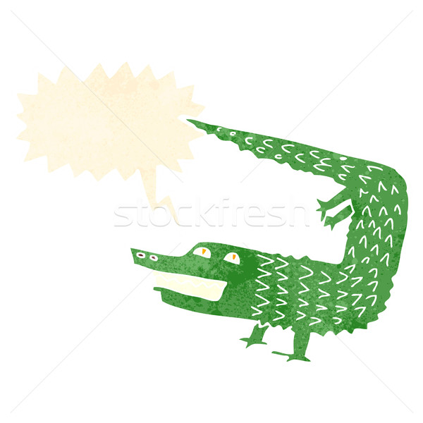 cartoon crocodile with speech bubble Stock photo © lineartestpilot
