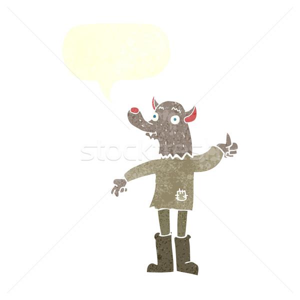 漫画 面白い 狼 吹き出し 手 男 ストックフォト © lineartestpilot
