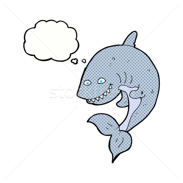 Desenho animado tubarão balão de pensamento mão projeto arte Foto stock © lineartestpilot