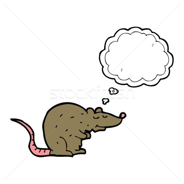 Karikatür sıçan düşünce balonu el dizayn fare Stok fotoğraf © lineartestpilot