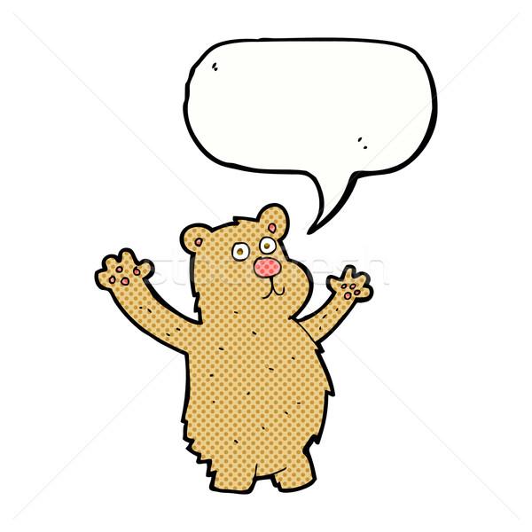 Cartoon grappig beer tekstballon hand ontwerp Stockfoto © lineartestpilot