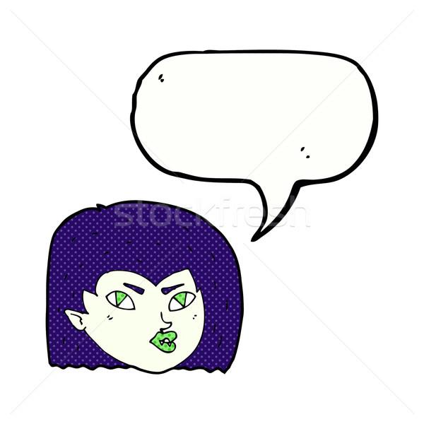 Desenho animado vampiro cara balão de fala mulher mão Foto stock © lineartestpilot