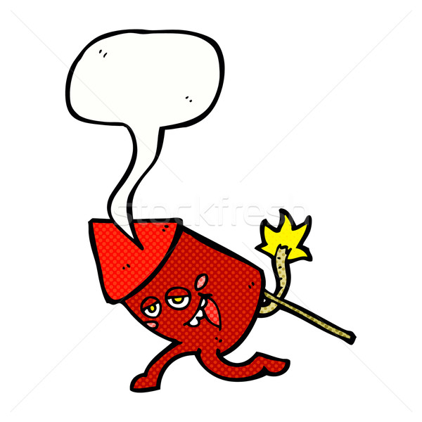 Cartoon grappig vuurwerk karakter tekstballon hand Stockfoto © lineartestpilot