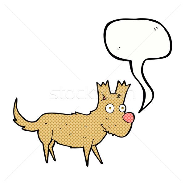 Cartoon cute weinig hond tekstballon hand Stockfoto © lineartestpilot