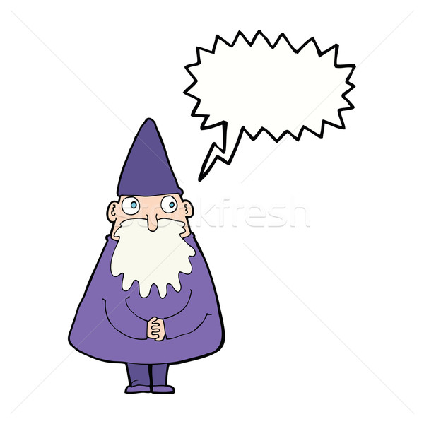cartoon wizard with speech bubble Stock photo © lineartestpilot