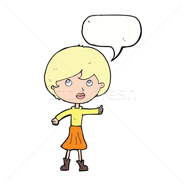 Cartoon mujer cuestión bocadillo mano Foto stock © lineartestpilot