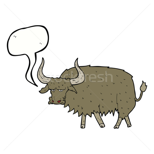 cartoon annoyed hairy cow with speech bubble Stock photo © lineartestpilot