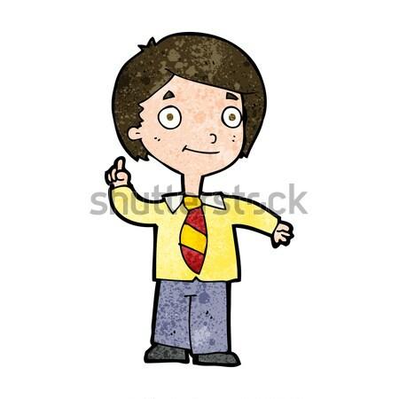 comic cartoon school boy answering question Stock photo © lineartestpilot