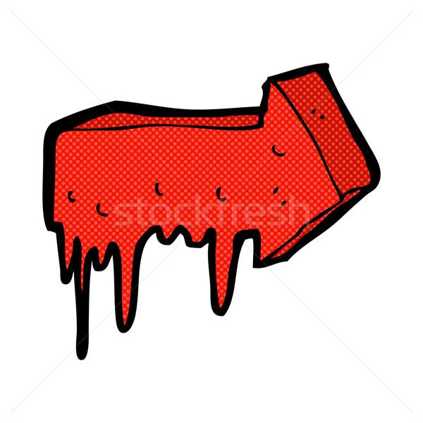Cômico desenho animado sangrento indicação seta retro Foto stock © lineartestpilot